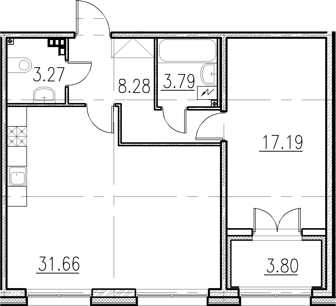 2-к.кв (евро), 67.99 м²
