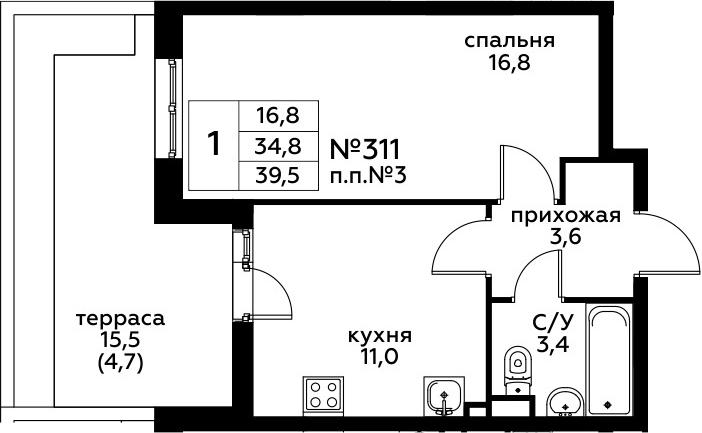 1-к.кв, 50.47 м²