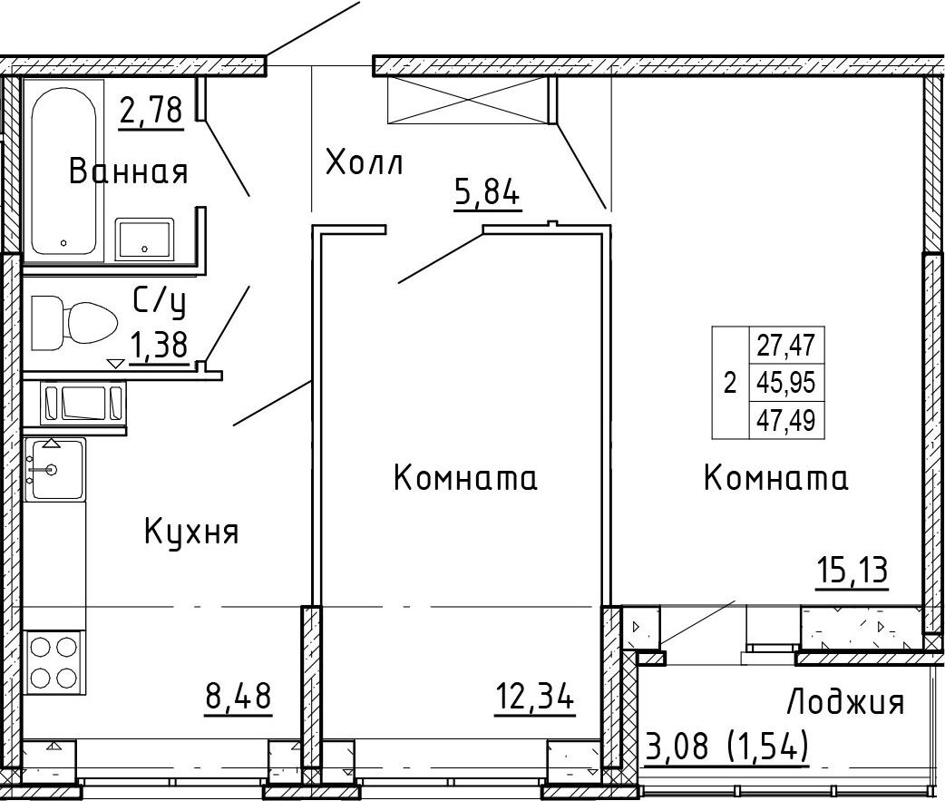 2-к.кв, 47.49 м²