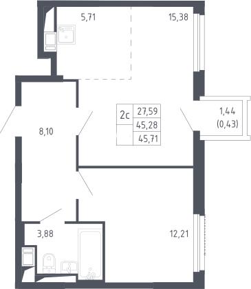 2Е-комнатная, 45.71 м²– 2