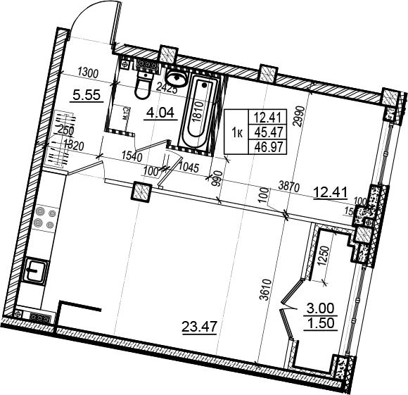 2Е-комнатная, 46.97 м²– 2