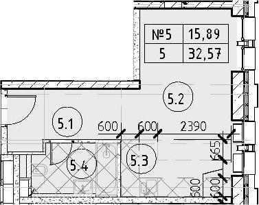 Студия, 32.57 м²