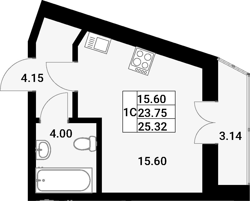 Студия, 25.32 м²– 2