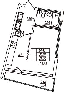 1-комнатная, 33.2 м²– 2