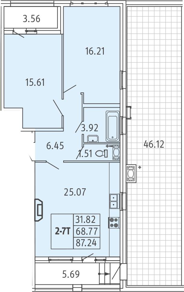 3-к.кв (евро), 124.14 м²