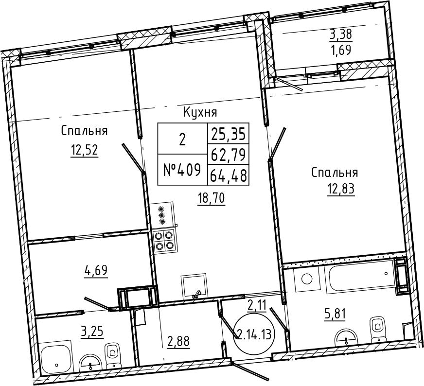 3Е-комнатная, 64.48 м²– 2