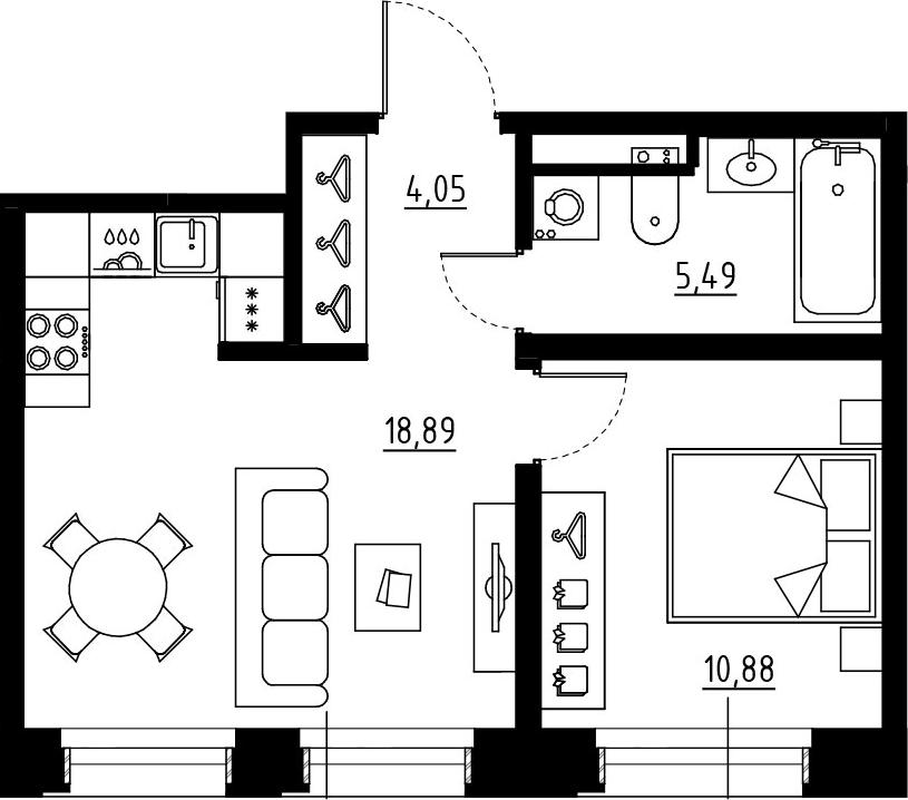2Е-к.кв, 39.31 м², 2 этаж