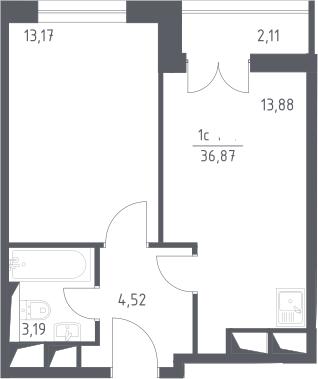 2Е-комнатная, 36.87 м²– 2
