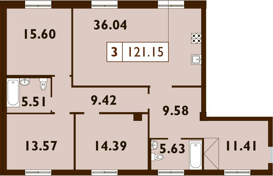 4Е-комнатная, 121.15 м²– 2
