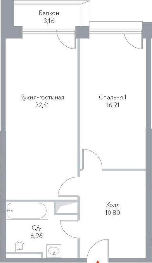 2-к.кв (евро), 67.61 м²