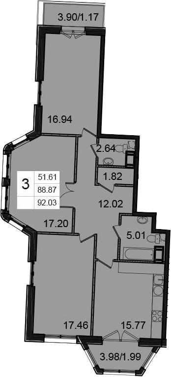 3-комнатная, 92.03 м²– 2