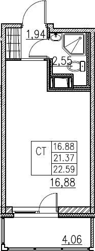 Студия, 22.59 м²