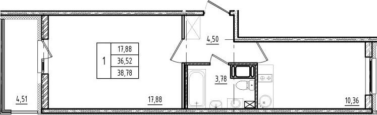 1-к.кв, 36.52 м²