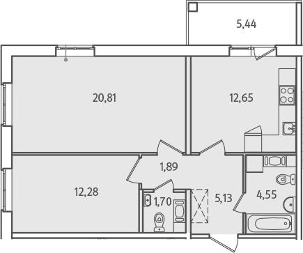 2-к.кв, 61.73 м², от 2 этажа