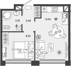 2-к.кв (евро), 42.65 м²