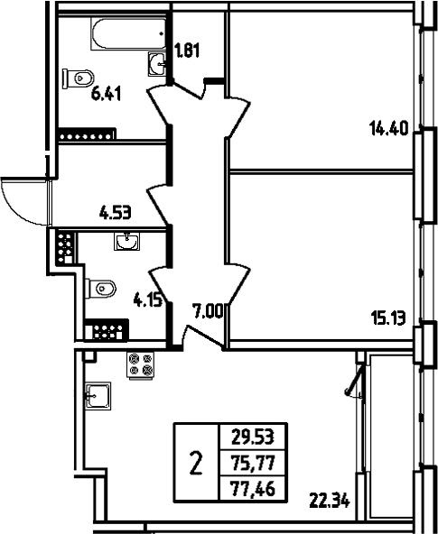 3Е-комнатная, 77.46 м²– 2