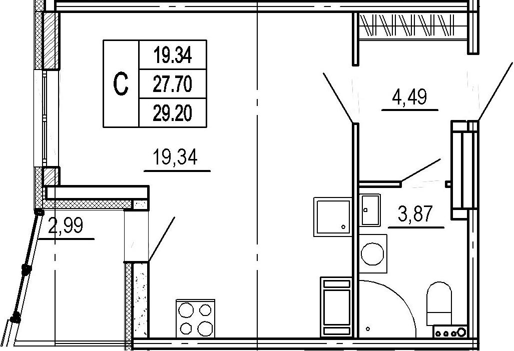 Студия, 27.7 м²– 2