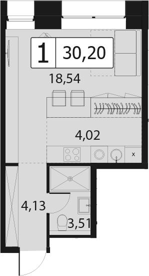 Студия, 30.2 м²– 2
