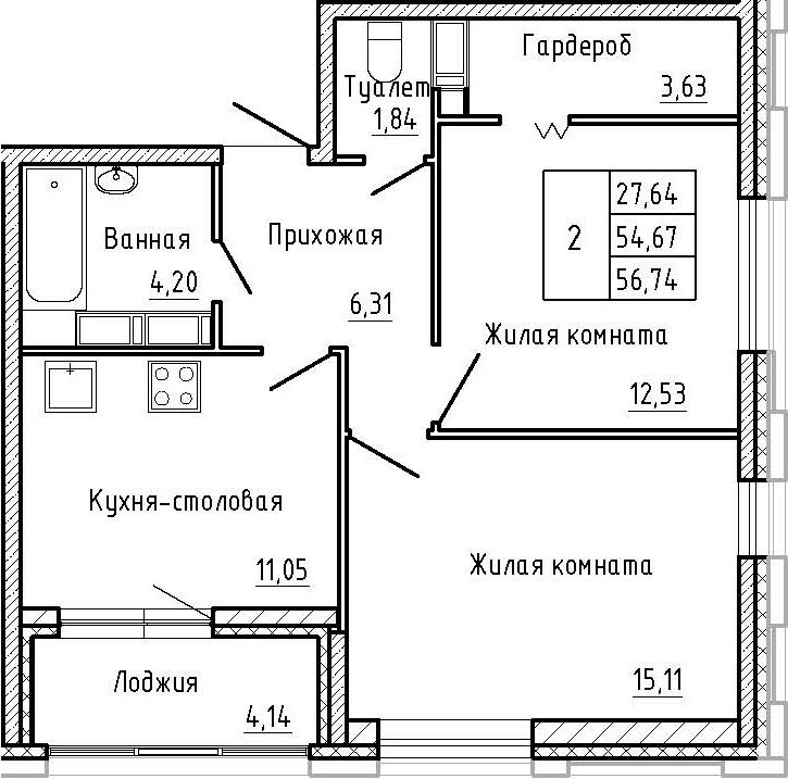 2-к.кв, 56.74 м²
