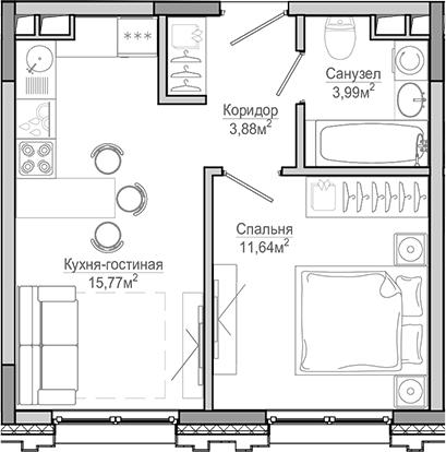 2-к.кв (евро), 35.28 м²