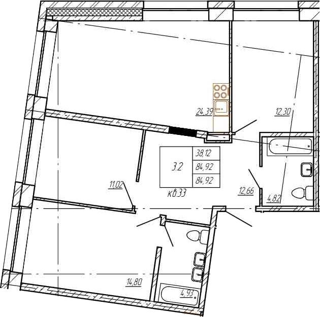 4Е-комнатная, 84.92 м²– 2