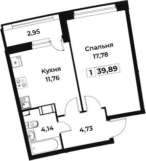 1-комнатная, 39.89 м²– 2