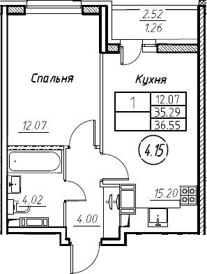 2Е-к.кв, 36.55 м², 5 этаж
