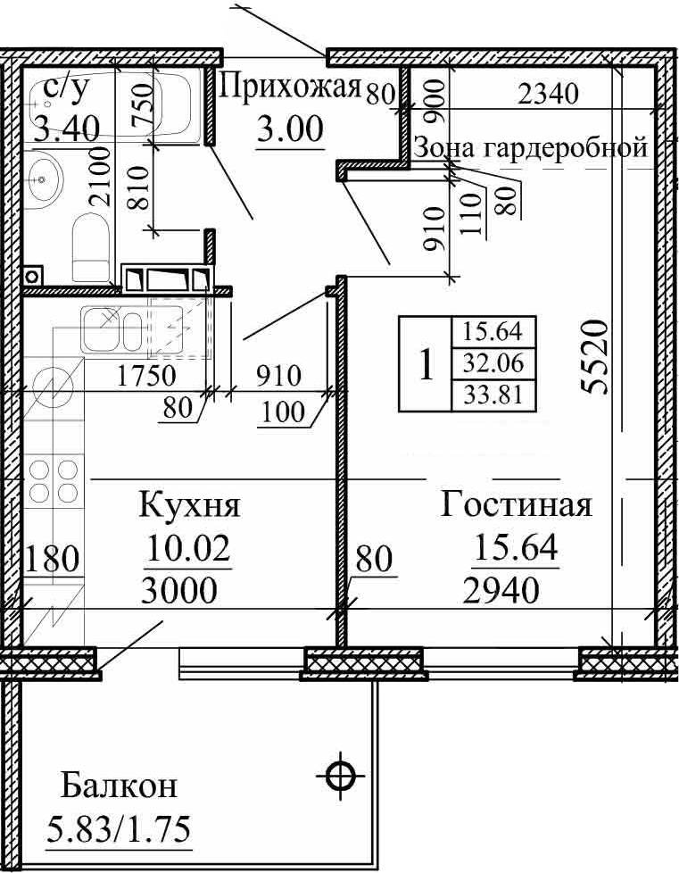 1-к.кв, 33.81 м², 3 этаж