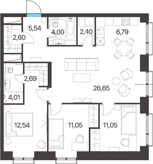 4-к.кв (евро), 89.32 м²