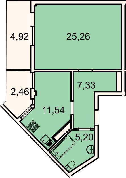 1-к.кв, 51.55 м²