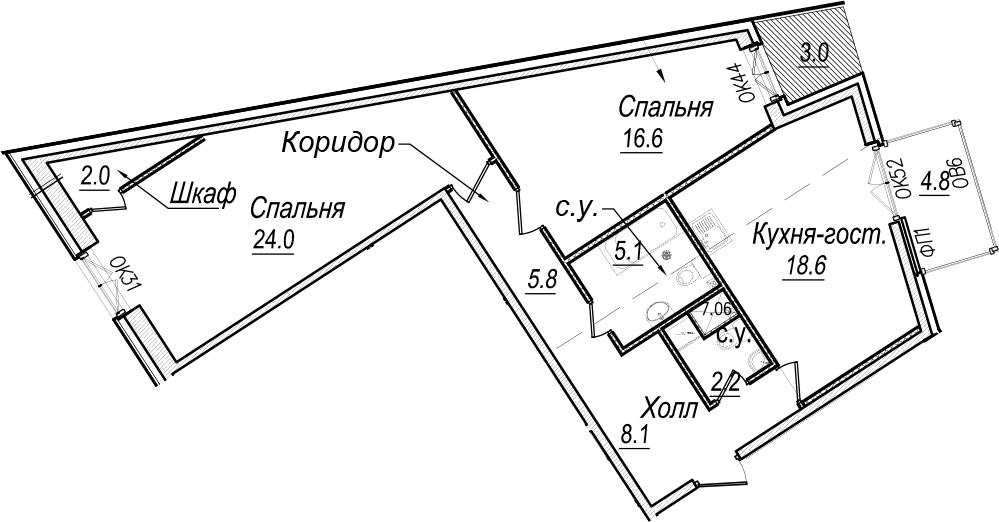 3Е-к.кв, 85.3 м², 6 этаж
