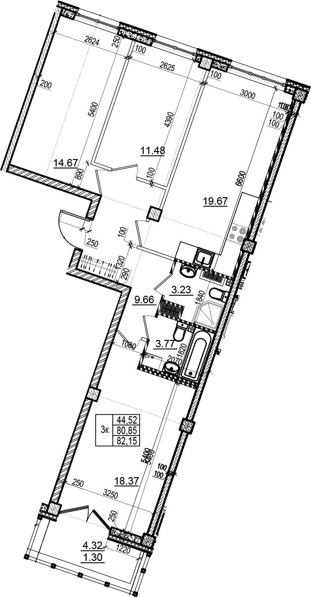 4Е-комнатная, 82.15 м²– 2