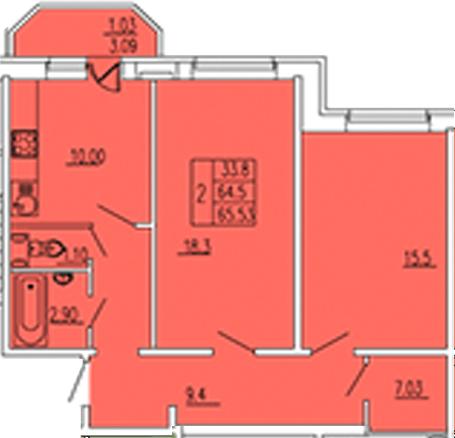 2-к.кв, 67.93 м²