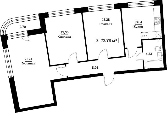 3-комнатная, 72.75 м²– 2