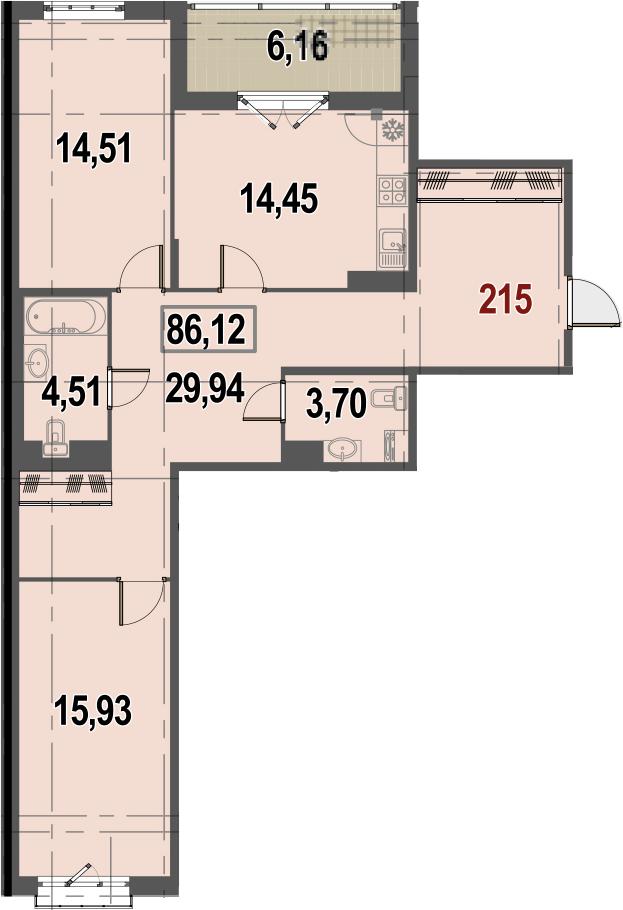 2-к.кв, 89.2 м²