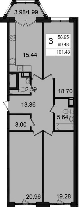 3-комнатная, 101.48 м²– 2