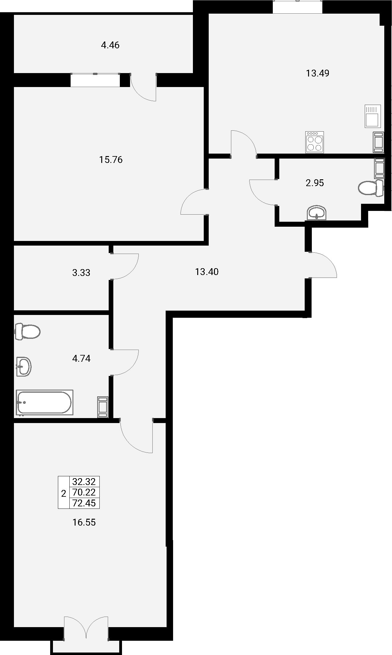 2-к.кв, 72.45 м²