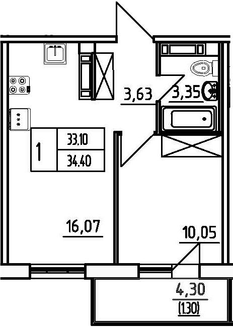 1-к.кв, 37.43 м²