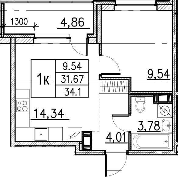 2Е-комнатная, 34.1 м²– 2