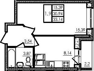 1-к.кв, 30.94 м²