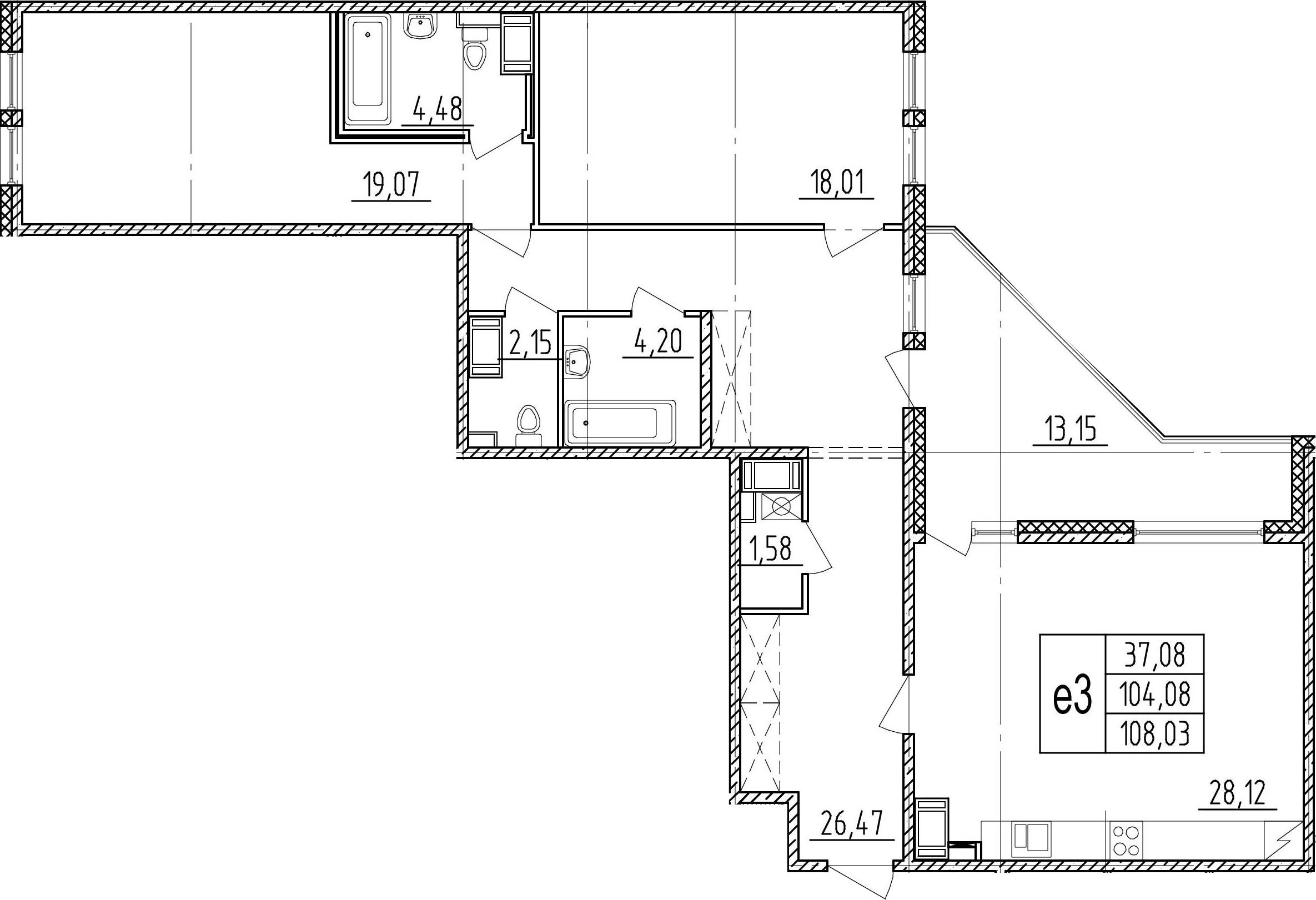 3Е-комнатная, 104.08 м²– 2