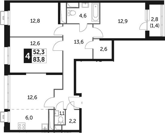 4Е-комнатная, 83.8 м²– 2