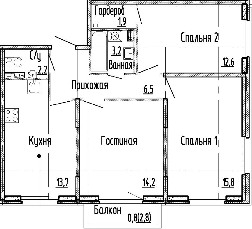 3-комнатная квартира, 70.1 м², 1 этаж – Планировка