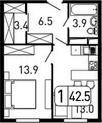 1-комнатная, 42.5 м²– 2
