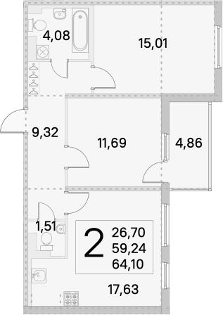 3Е-комнатная, 64.1 м²– 2