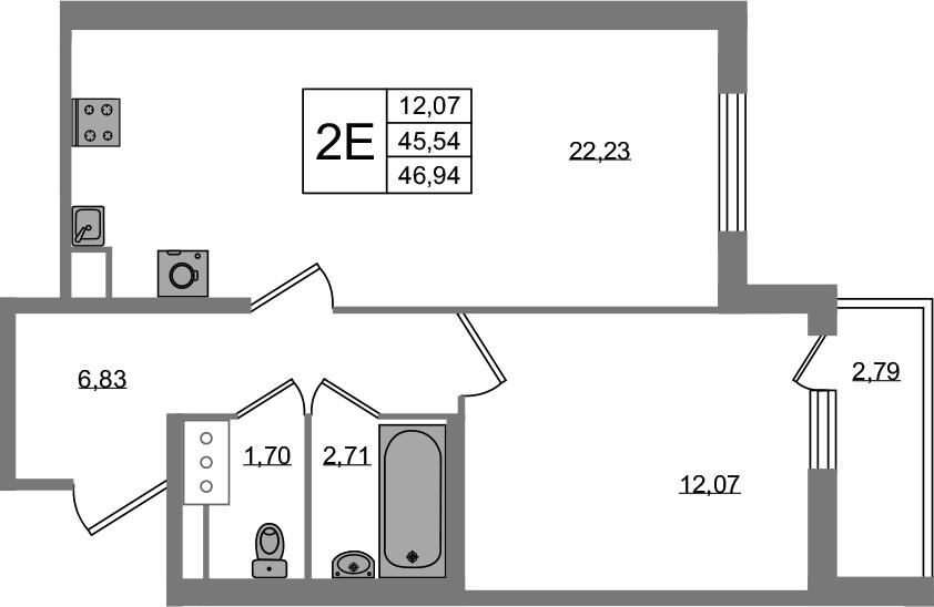 2Е-комнатная, 45.54 м²– 2