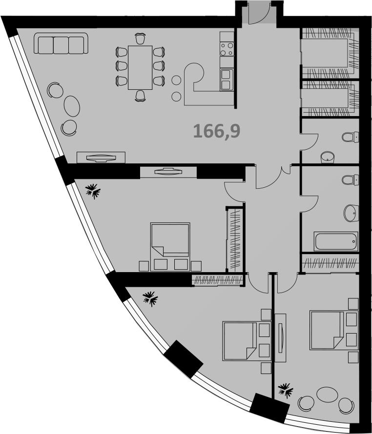 Своб. план., 166 м², 3 этаж