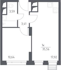2-к.кв (евро), 35.56 м²