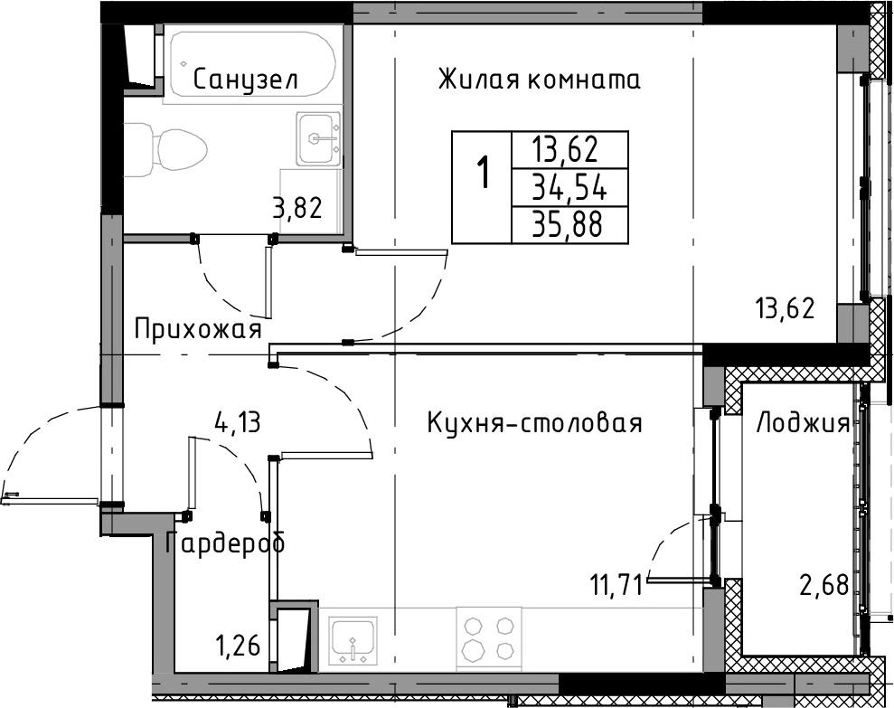 1-к.кв, 37.22 м²
