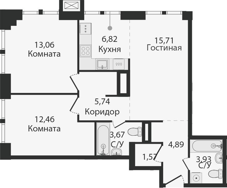 3Е-комнатная, 67.85 м²– 2